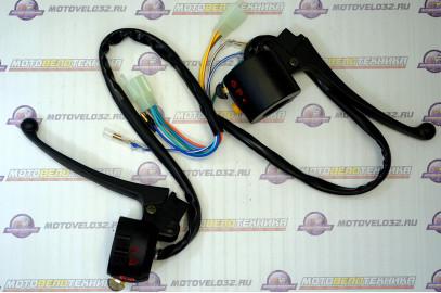 Блок переключателей рулевой Мопед Alpha черный (фишка) комплект