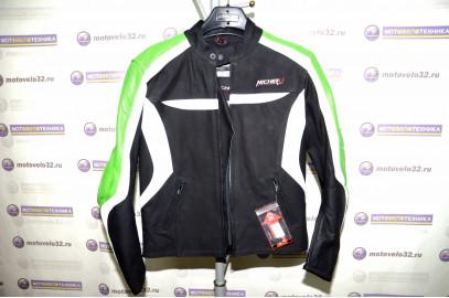 Куртка мотоциклетная (кожа) Street Fighter черно-зеленый (L) MICHIRU