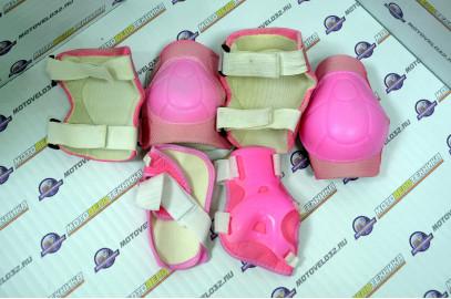 Защита велосипедная (локти,колени,ладони) тип 2 пластик розовый детск.