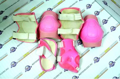 Защита велосипедная (локти,колени,ладони) тип 5 розовый детск.