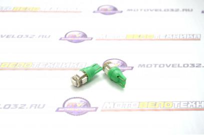 Лампа габарит, без цоколя (2шт) 5 SMD зелен.