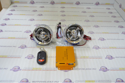 Аудиосистема + сигнализация под зеркала BEST CHOICE 2.5, синяя-хром, МР3/FM/SD/USB, ПДУ, разъем ППДУ
