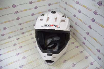 Шлем кроссовый Ataki MX801 Solid белый глянцевый  L