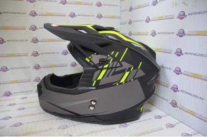 Шлем кроссовый Ataki MX801 Strike Hi-Vis желтый/черный матовый  L