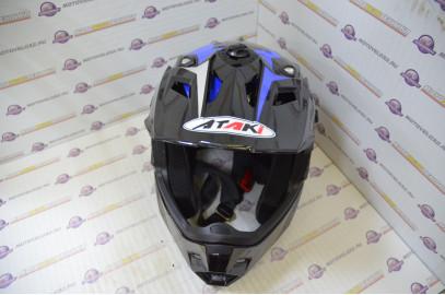 Шлем кроссовый Ataki MX801 Strike синий/черный глянцевый  L