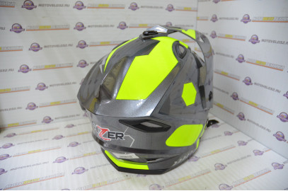 Шлем кроссовый HIZER J6802 (M) #1 grey/lemon