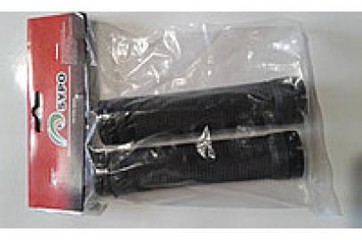 Ручки руля (грипсы L -120мм) черные с заглушками в инд.упак.