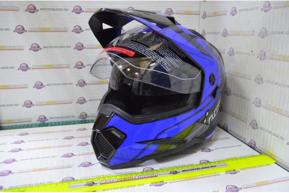 Шлем кросс KIOSHI Fighter 802 со стеклом и очками (Синий, S)