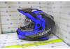 Шлем кросс KIOSHI Fighter 802 со стеклом и очками (Синий, M)