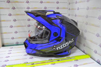 Шлем кроссовый KIOSHI Fighter 802 со стеклом и очками (Синий, M)