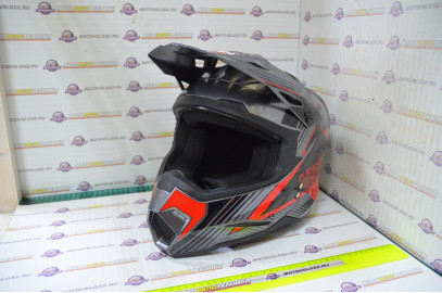 Шлем кроссовый KIOSHI Holeshot 801 (Серый, красный S)