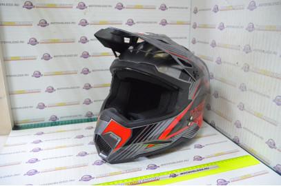 Шлем кроссовый KIOSHI Holeshot 801 (Серый/красный, M)