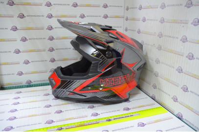 Шлем кросс KIOSHI Holeshot 801 (Серый/красный, M)