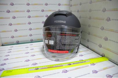 Шлем открытый KIOSHI 526 со стеклом и очками (Черный матовый, L)