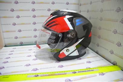 Шлем открытый KIOSHI 526 со стеклом и очками (Черный, красный, S)