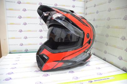 Шлем кроссовый KIOSHI Fighter 802 со стеклом и очками (Красный, XL)