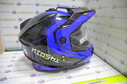 Шлем кроссовый KIOSHI Fighter 802 со стеклом и очками (Синий, L)