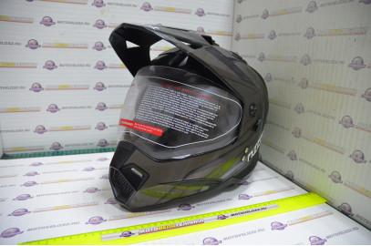 Шлем кроссовый KIOSHI Fighter 802 со стеклом и очками (Черный, L)