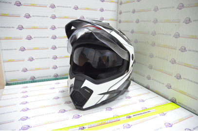 Шлем кроссовый KIOSHI Fighter 802 со стеклом и очками (Черный, белый, L)