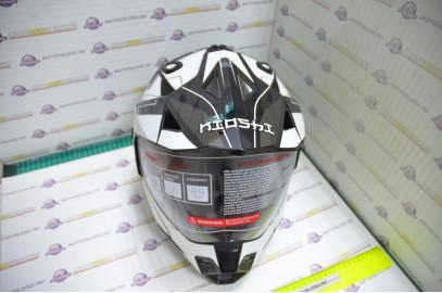 Шлем кроссовый KIOSHI Fighter 802 со стеклом и очками (Черный, белый, M)