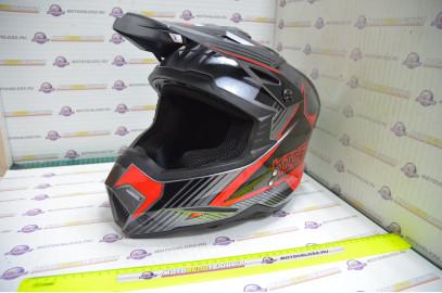 Шлем кроссовый KIOSHI Holeshot 801 (Серый/красный, L)