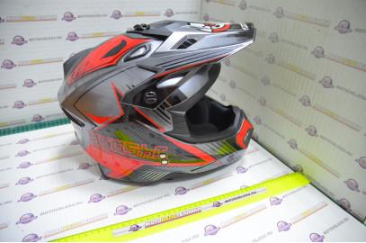 Шлем кроссовый KIOSHI Holeshot 801 (Серый/красный, S)
