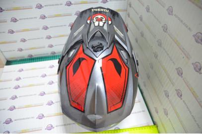 Шлем кроссовый KIOSHI Holeshot 801 (Серый/красный, XL)
