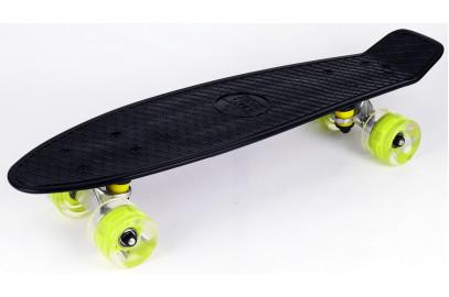 "Скейтборд DS 02 black led дека 22,5*6"""