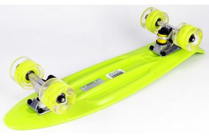 "Скейтборд DS 02 lime led дека 22,5*6"""