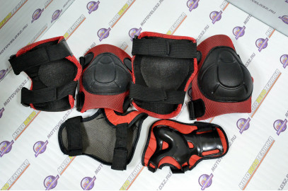 Защита велосипедная (локти,колени,ладони) тип 1 пластик чер.-красн. детск.