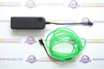 Нить светодиодная (D2.3мм, L-2м, 60LED) 3V (цв. зеленый)