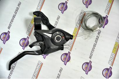 Шифтер/торм.ручка ST-EF51-7R(AL)2пальца черная 7ск.правая
