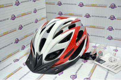 Велошлем TW M/L(58-62см) красно-серо-белый 23вет.отв.